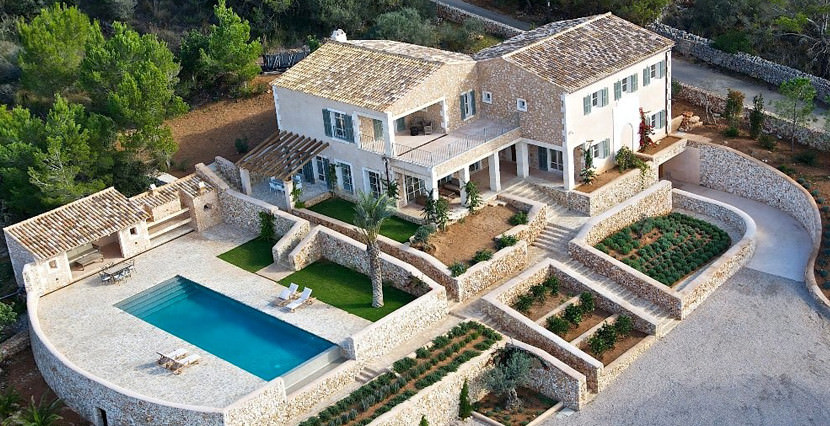 unique villas mallorca wonderful country house for sale in Santanyi sky view